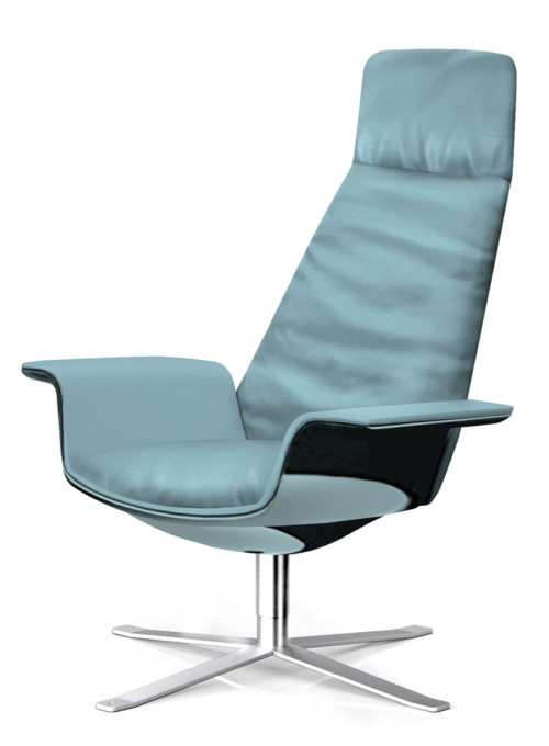 Lacquered wooden shell, Aqua colored leather upholstery