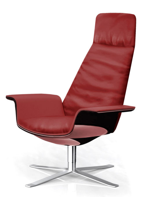Lacquered wooden shell, Vermillion colored leather upholstery