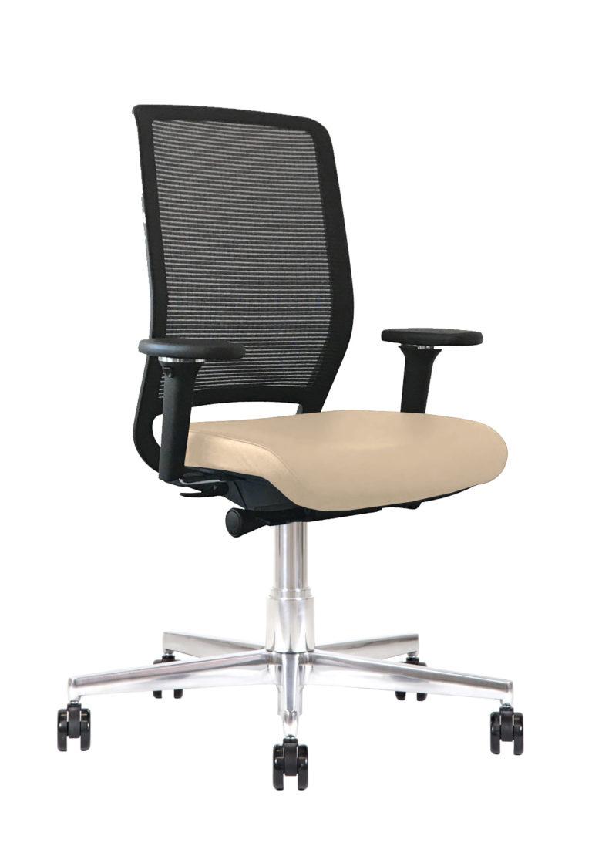 Sedia ufficio in pelle Kleos BB214 Crema